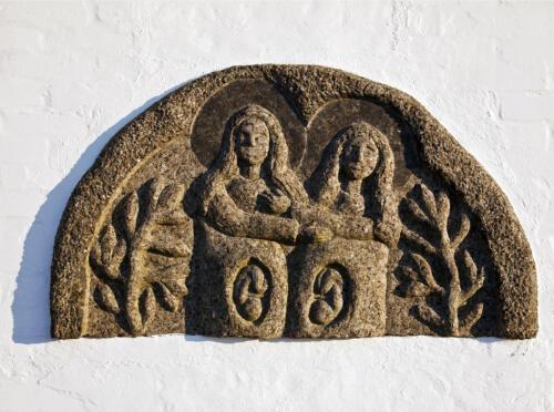Jomfru Maria og Elisabeth. I maverne bærer de Jesus og Johannes Døberen